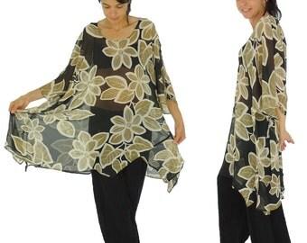HO200GBT2 tunic plus size blouse chiffon Gr. 42-56 black/beige