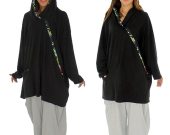 HS100SW1 tunic layered look shirt asymmetrical Gr. 40-52 black
