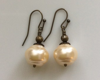 Glass Pearl Earrings  Cream Baroque Pearl Earrings  Bohemian Earrings  Boho Earrings  Ivory Pearl Earrings