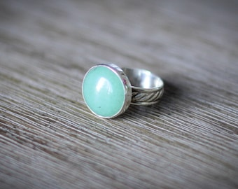 Sterling Silver and Green Aventurine statement ring