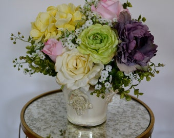 Spring Floral Arrangement, in Ivory Ceramic Vase, Hydrangea, Peony Roses, Ranunculus, Baby's Breath, Easter Flowers, Mother's Day