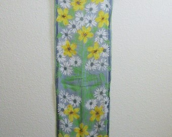 Vera Green Silk Daisy Scarf Long Yellow Floral