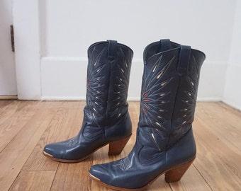 Vintage Blue Dingo Cowboy Cowgirl Boots Women Sz 6 M
