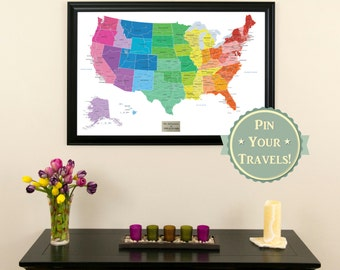Personalized Colorful Us Push Pin Travel Map Push Pin Travel Map Kids Playroom Decor