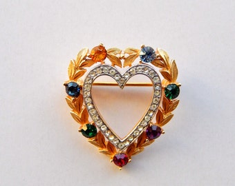 Vintage Crown TRIFARI DEAREST Rhinestone Heart Brooch, Neo Victorian Acrostic Rhinestone Heart Pin, Trifari Heart Pin, Valentine's Day Gift