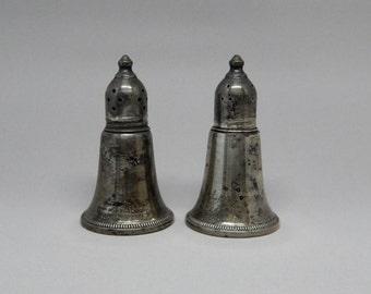 Vintage Sterling Weighted Salt & Pepper Shakers Set, Bell Shaped Sat Pepper Shakers Sterling Silver, Antique Salt Pepper Shakers Art Deco