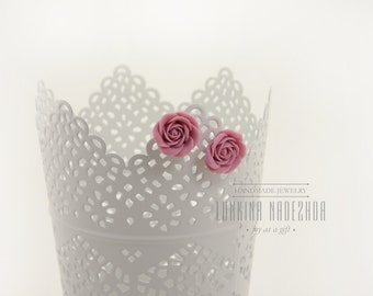 Lilac polymer clay rose flowers stud earrings small handmade jewelry