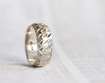 SIMPLE SILVER RING, silver tire tread ring, silver band, thumb ring, modern silver ring size 9