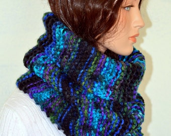 Hand Knitted Snood Scarf, Knit Cowl Scarf, Snood Neckwarmer, Men or Women Multicolor Snood