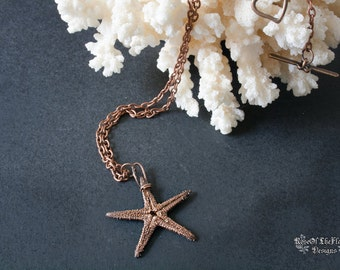 Starfish necklace. Sea star necklace. Starfish jewelry. Mermaid jewelry. Copper star. Electroformed. Electroplated