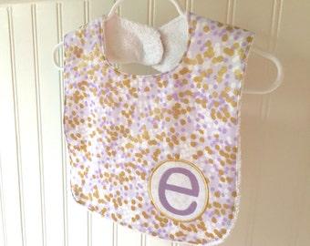 personalized bib, lavender, purple, baby, bib