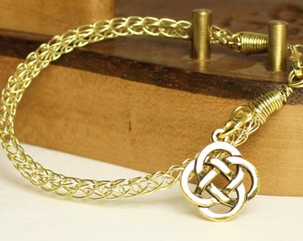 Chain bracelet with Celtic knot charm, knit brass bracelet, handcrafted artisan jewelry, unique gift for women, Viking knit chain bracelet