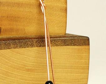 Black obsidian earrings, handcrafted copper artisan jewelry, handmade long dangle earring
