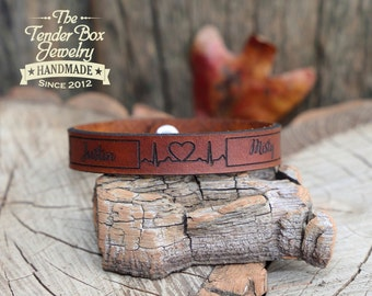 Personalized leather bracelet heartbeat engraved couple's leather bracelet engraved EKG leather cuff his her gift