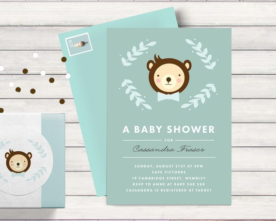 baby shower invitation teddy bear theme invites for boy with bow tie