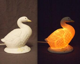 Vintage Ceramic Porcelain Goose Night Light / Bird Figurine Lamp
