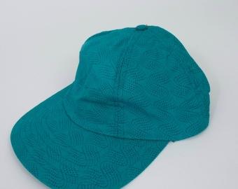 Vintage 90s Teal Polka Dot Wave Print Hat