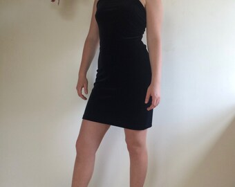 Vintage Black Velvet Tank Mini Dress