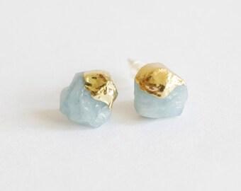 Amazonite earrings, Raw Crystal earrings, stud earrings Gold raw crystal quartz stone gold earrings, gold post earrings, rough gemstone