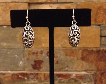 Small Silver Filigree Filagree Oval Earrings Resembles Brighton Jewelry