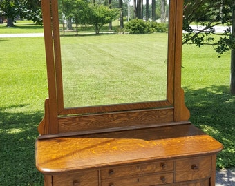 Antique Tiger Oak Low Boy with Beautiful Dressing Mirror