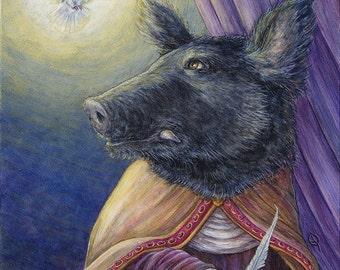 Sainted Lady wild boar Renaissance animal portrait limited edition pig print dove iconography