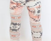 American Girl Doll sized sweater leggings - cream, coral, and grey aztec print