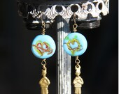Boy Milagro Earrings with Brilliant Blue Italian Glass Beads with Hearts