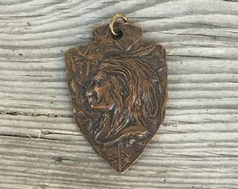 Vintage dudes pocket watch fob native american chief arrowhead  pendant cast bronze? brass? copper? metal unisex supplies americanna LA