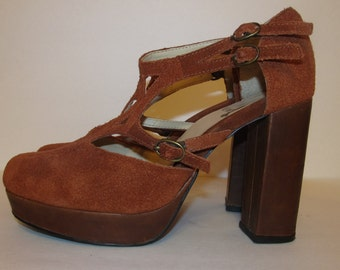 Suede Heals Pumps Rust High Heels Stilettos Boho 8-8.5