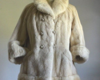 Genuine Mink Blonde Mink Fur Cuffs and Rhinestone Buttons Jacket Coat Vintage 70's