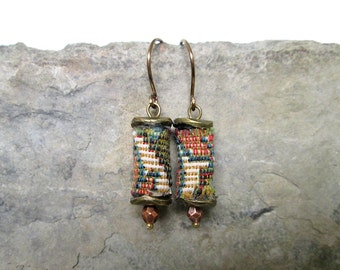 Tapestry Earrings, Bohemian Textile Earrings, Indie Jewelry, Boho Chic Earrings, Unique Dangles, Gift for Her, Peggy True
