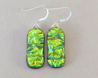 Green Dichroic Fused Glass Dangle Earrings, Fused Glass, Fused Glass Earrings, Glass Earrings, Dichroic Earrings, Dangle Earrings, Dichroic
