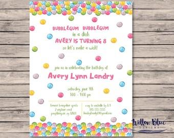 Gumball Birthday Party Invitation, Gum Ball Birthday Party, #013  5x7 or 4x6 Printable Invitation