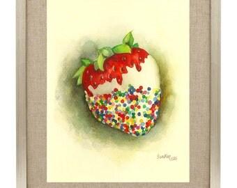 Sweet Strawberry Sprinkled Dessert Watercolor Painting Fine Art Print Food Illustration Kitchen Art Home Decor