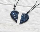 Half heart necklace Big dipper pendant Little dipper gift Two hearts necklace Boyfriend gift Girlfriend gift Dipper constellation Ursa Minor