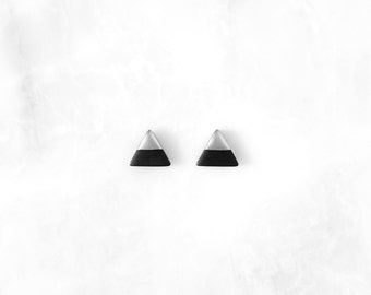 BLACK & Silver Dipped Triangle Studs