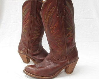 Vintage Frye Ladies 8b Brandy Leather Rainbow Stitched Cowgirl Western Boots