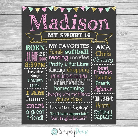 Sweet 16 Birthday Chalkboard Poster Of Favorite Things