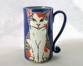 Calico cat Mug, pottery mug, great christmas gift, animal art, cat mug, cat art, calico, approx 16-18 oz. dishwasher and microwave safe.