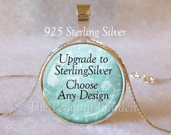 CUSTOM STERLING PENDANT Choose any Design in Our Shop or Send Your Own Design, 925 Sterling Silver with Sterling Necklace Chain