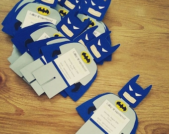 BLUE Batman Birthday Invitations, Retro Batman Invitations, Batman, Batman Party Invitations, Batman and Robin Party, Superhero Invitation