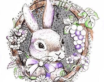 Bunny  cute watercolor art print