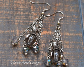 Dragon Claw and Crystal Bead Earrings
