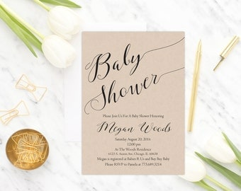 Rustic Baby Shower Invitation Printable, Gender Neutral Baby Shower Invitation, Kraft Baby Shower Invite, Digital, Baby Shower Invite