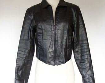 1980s black leather jacket, cropped Wilsons motorcycle coat, Large