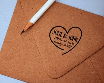 Custom Return Address Stamp with names in heart, self inking or wood handle, save the date, wedding