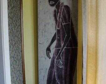 Vintage Batik Painting on Cloth Stretched on Wood Frame