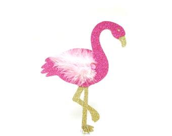 Large Fuchsia Glitter Flamingo Cake Topper - Tropical Birthday Cake Topper, Tropical Birthday, Tropical Party, Flamingo Party