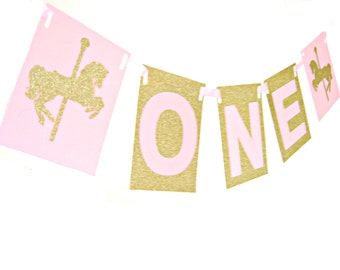 Large Gold Glitter & Pink ONE Carousel Horse Banner -  ONE Birthday Banner, Pink and Gold Party, I am one banner, first birthday banner